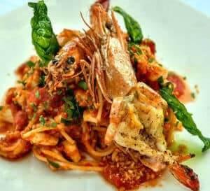 nusa dua restaurants | King Prawn Spaghetti | nusa dua beach grill | nusa dua italian restaurants
