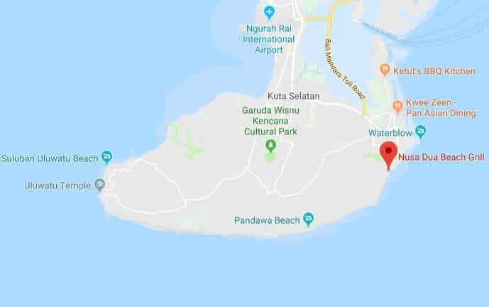 restaurants in kuta selatan | nusa dua beach grill | location